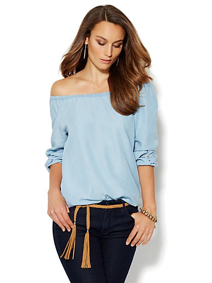Embroidered Chambray Peasant Blouse - New York & Company