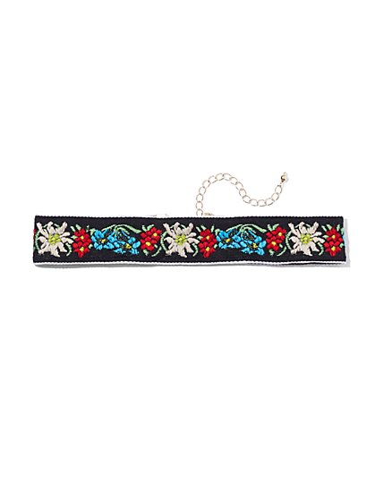Embroidered Choker Necklace  - New York & Company