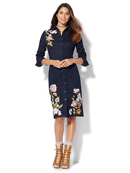 Embroidered Denim Dress  - New York & Company
