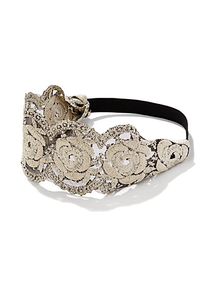 Embroidered Floral Headband  - New York & Company