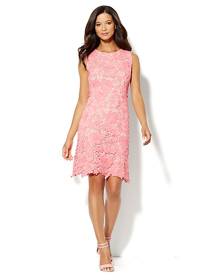 Embroidered Floral-Lace Dress - New York & Company