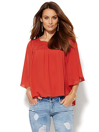 Embroidered Flutter-Sleeve Blouse  - New York & Company