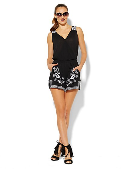 Embroidered Gauze Romper  - New York & Company