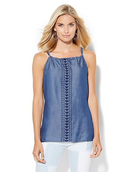 Embroidered Halter Top  - New York & Company