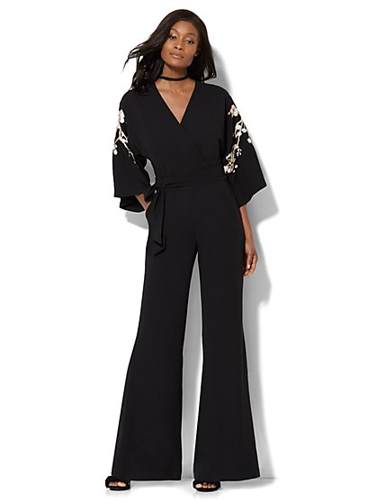Embroidered Kimono Jumpsuit - New York & Company