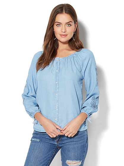 Embroidered Off-The-Shoulder Blouse - Medium Blue Wash - New York & Company