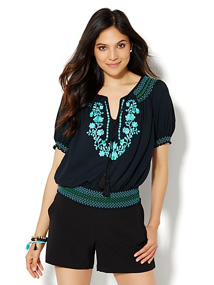 Embroidered Off-The-Shoulder Peasant Blouse  - New York & Company