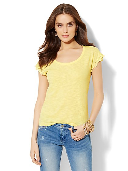 Embroidered Open-Back Tee  - New York & Company