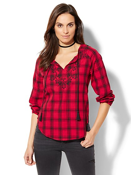 Embroidered Peasant Blouse - Plaid - New York & Company