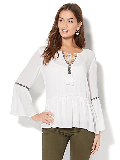 Embroidered Peasant Blouse - White - New York & Company