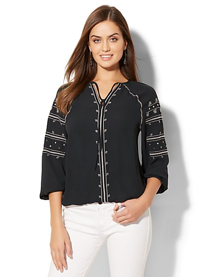 Embroidered Peasant Blouse - New York & Company
