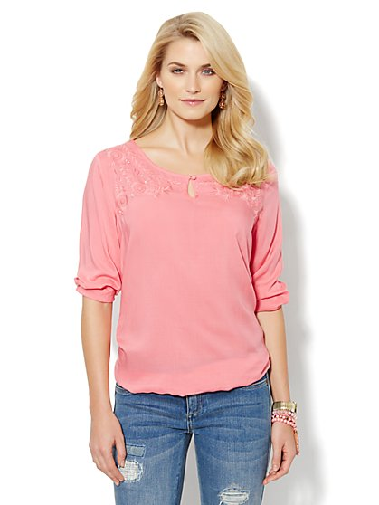 Embroidered Peasant Top - New York & Company