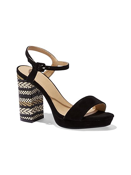 Embroidered Platform Sandal - New York & Company