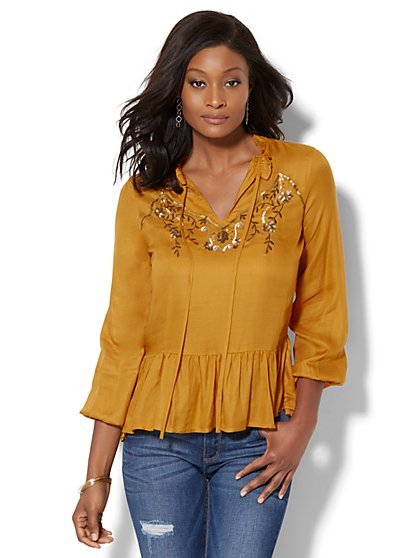Embroidered Ruffled Peplum Blouse - New York & Company