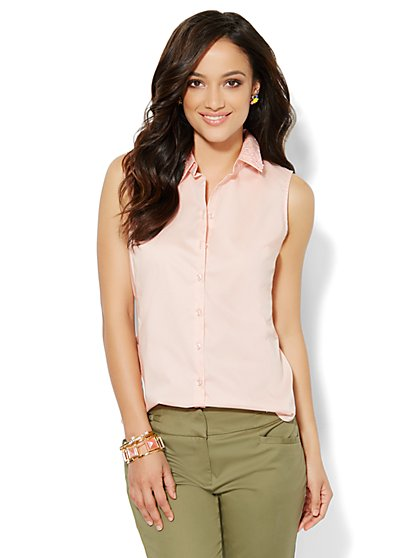 Embroidered Sleeveless Shirt  - New York & Company