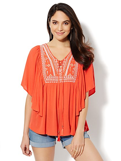 Embroidered V-Neck Blouse  - New York & Company