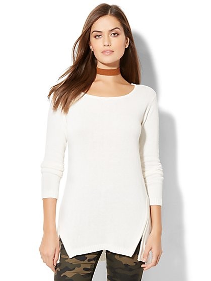 Empire Side-Zip Tunic Sweater - New York & Company