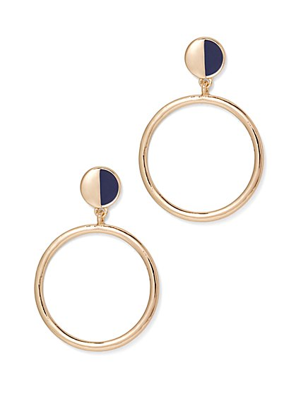Enamel Hoop Drop Earring  - New York & Company