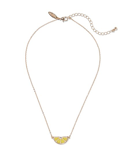 Enamel Lemon Pendant Necklace  - New York & Company