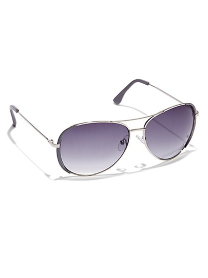 Enamel-Trim Aviator Sunglasses