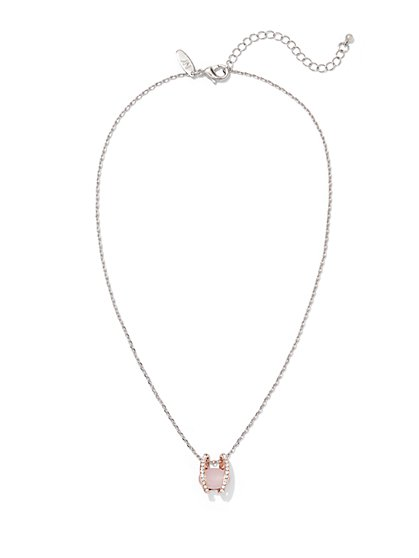 Encased Faux-Stone Pendant Necklace  - New York & Company
