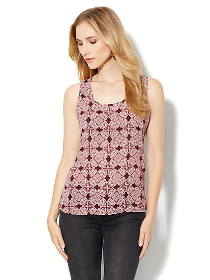Envelope-Back Print Top - New York & Company