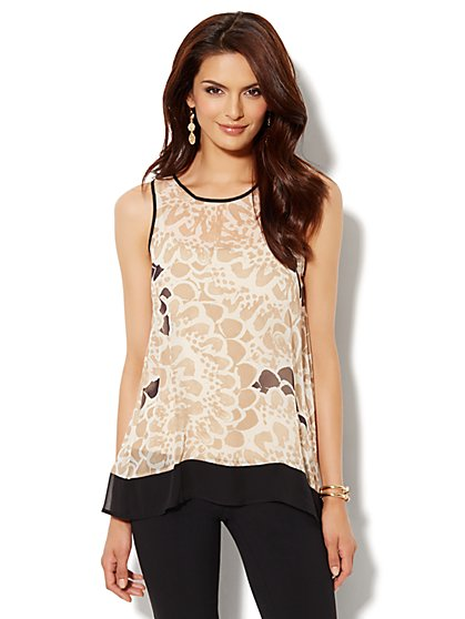 Envelope-Back Top - Floral Print - New York & Company