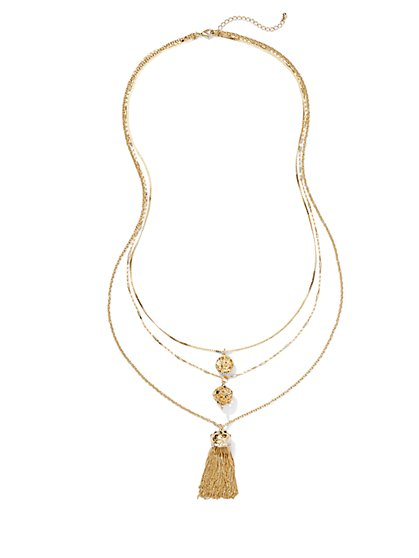 Eva Mendes Collection - 3-Layer Tassel Necklace - New York & Company