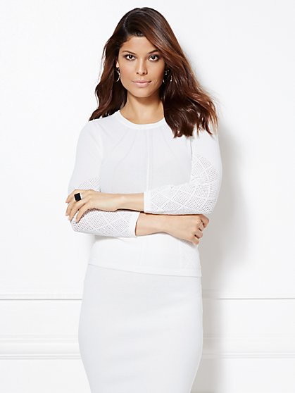Eva Mendes Collection - Alba Pointelle Sweater  - New York & Company