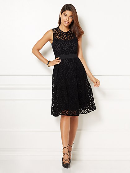 Eva Mendes Collection - Amanda Velvet Lace Dress - Black  - New York & Company