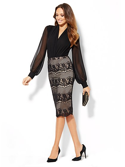 Eva Mendes Collection - Ashley Lace Pencil Skirt - New York & Company