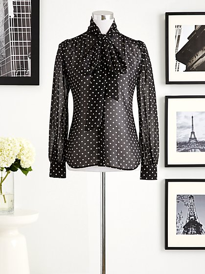 Eva Mendes Collection - Bow Blouse - Heart-To-Heart Print