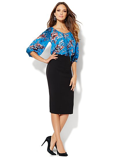 Eva Mendes Collection - Bridgette Peasant Blouse - Blue Gem - New York & Company