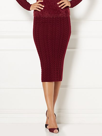 Eva Mendes Collection - Cable-Knit Sweater Skirt  - New York & Company