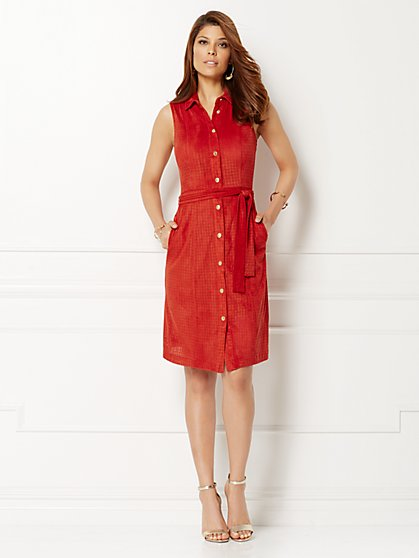 Eva Mendes Collection - Carmen Ultra-Suede Shirtdress - Petite  - New York & Company