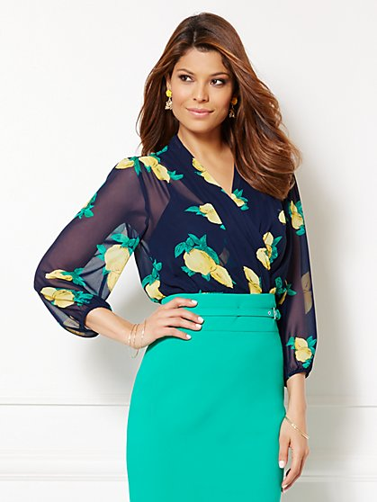 Eva Mendes Collection - Charlotte Blouse - Lemon Print  - New York & Company