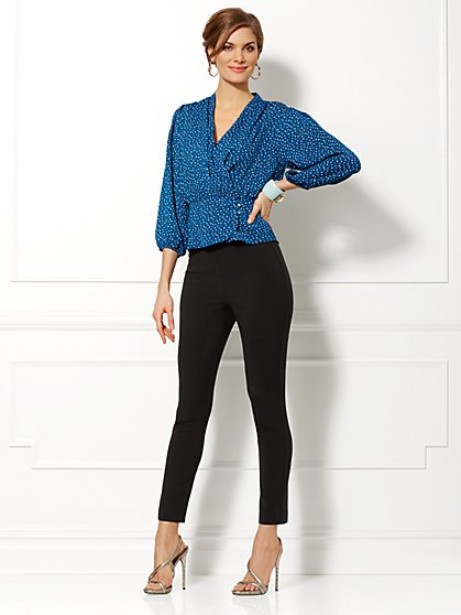 Eva Mendes Collection - Charlotte Polka-Dot Wrap Blouse  - New York & Company