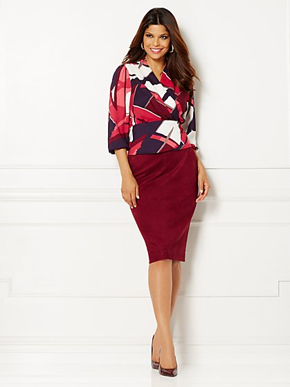 Eva Mendes Collection - Charlotte Wrap Blouse - Print  - New York & Company