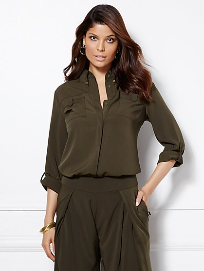 Eva Mendes Collection - Clara Patch-Pocket Blouse  - New York & Company