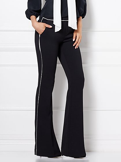 Eva Mendes Collection - Contrast-Trim Flare Pant  - New York & Company