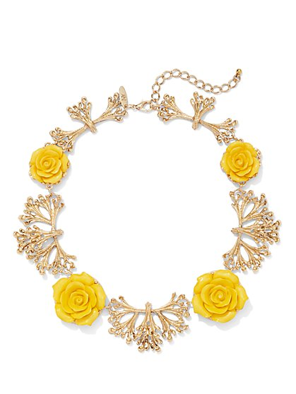 Eva Mendes Collection - Coral & Rosette Bib Necklace  - New York & Company