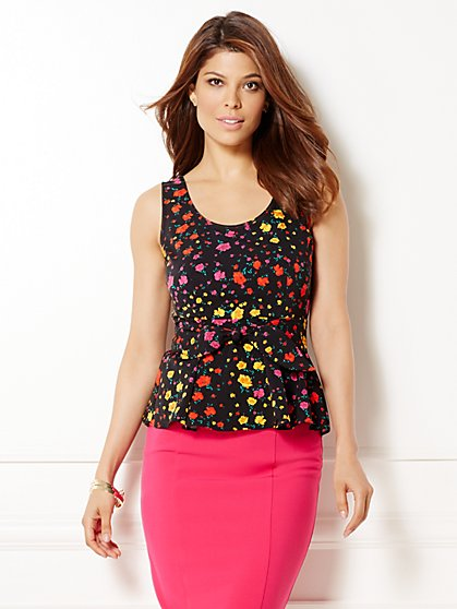 Eva Mendes Collection - Daisy Peplum Top - Floral  - New York & Company