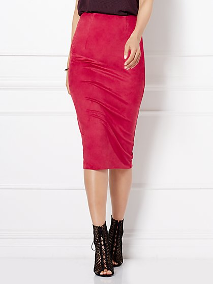 Eva Mendes Collection - Danielle Lace-Up Ultra-Suede Skirt  - New York & Company