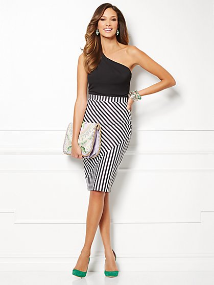 Eva Mendes Collection - Daphne One-Shoulder Dress -  Striped - New York & Company