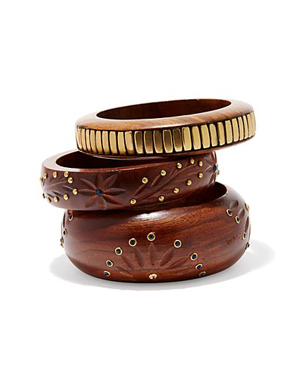 Eva Mendes Collection - Embellished Wood Bangles