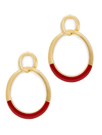 Eva Mendes Collection - Enamel Hoop Drop Earring  - New York & Company