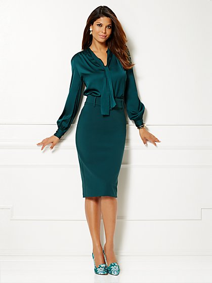 Eva Mendes Collection - Farrah Bow Blouse - Charmeuse - New York & Company