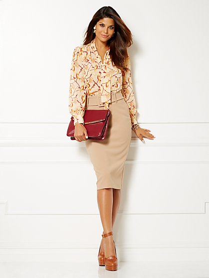 Eva Mendes Collection - Farrah Bow Blouse - Print  - New York & Company