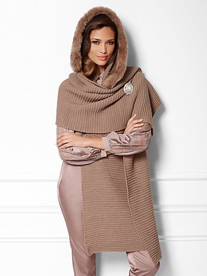 Eva Mendes Collection - Faux Fur-Trim Hooded Scarf - New York & Company