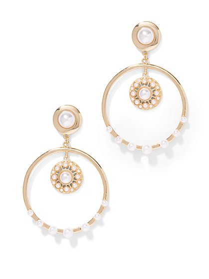 Eva Mendes Collection - Faux-Pearl Hoop Earring  - New York & Company